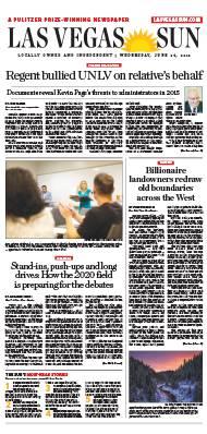 Frontpage of Las Vegas Sun newspaper on June 26, 2019
