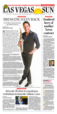 Frontpage of Las Vegas Sun newspaper on August 1, 2014