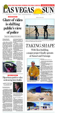 Frontpage of Las Vegas Sun newspaper on August 3, 2015