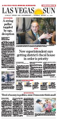 Frontpage of Las Vegas Sun newspaper on August 14, 2018