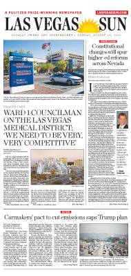 Frontpage of Las Vegas Sun newspaper on August 25, 2019