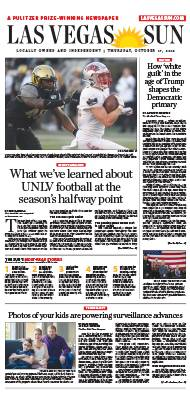 Frontpage of Las Vegas Sun newspaper on October 17, 2019