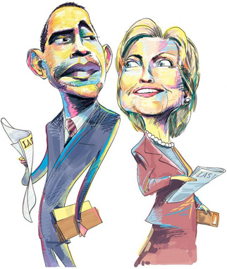 Barack Obama and Hillary Clinton Illustartion by Chris Morris